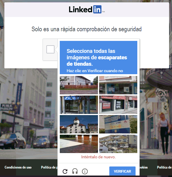 Captcha en LinkedIn para verificar que no eres un robot