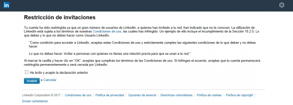 LinkedIn cuenta restringida