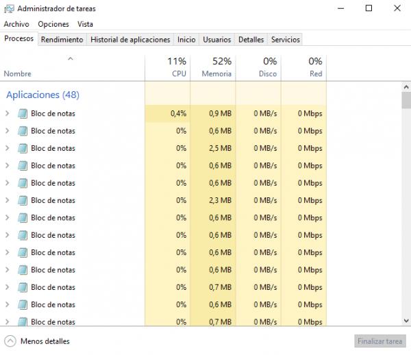 Administrador de tareas en Windows