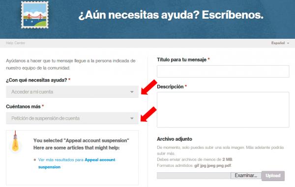 Formulario de contacto de Pinterest para cuentas suspendidas en español