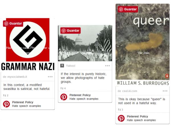 Pins o comentarios que hagan una incitación al odio (estos son ejemplos permitidos)
