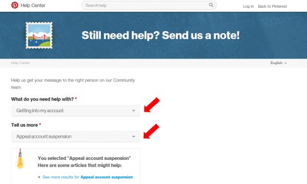 Formulario de contacto de Pinterest para cuentas suspendidas en inglés