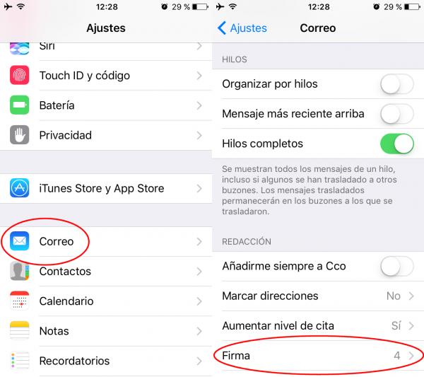 Cómo añadir una firma a los correos electrónicos enviados desde el iPhone/iPad