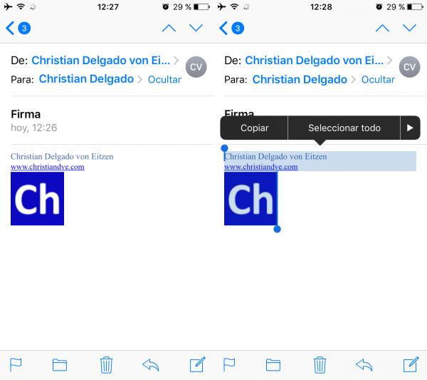 Seleccionar la firma HTML a copiar en el iPhone o iPad