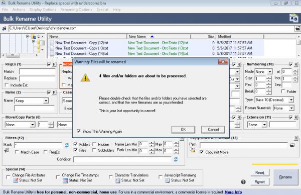 Bulk rename utility pide confirmación para cambiar el nombre de los ficheros en lote