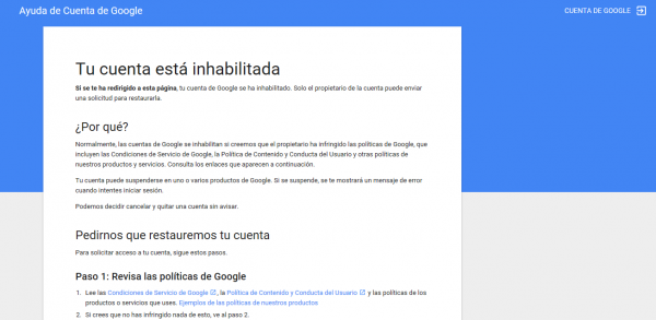 Tu cuenta de Gmail ha sido inhabilitada
