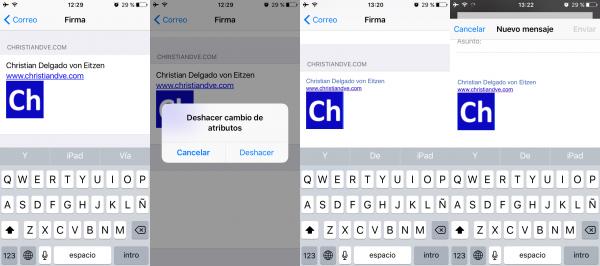 Truco: deshacer cambio de atributos para poner una firma HTML tal cual en el iPhone o iPad