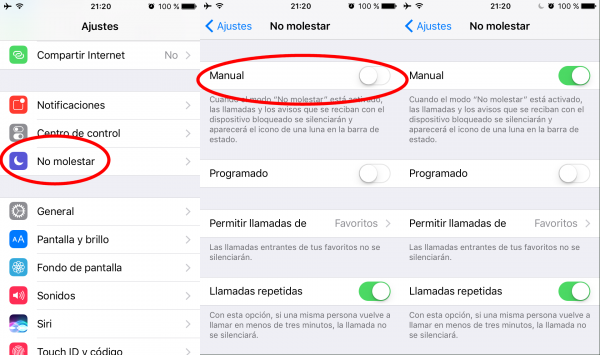 Ajustes No molestar en el iPhone