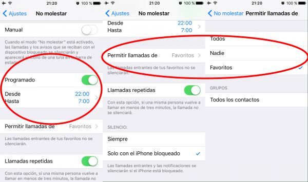 Modo no molestar en el iPhone modo programado o llamadas repetidas