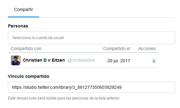 Compartir contenido con otras cuentas con Twitter Media Studio