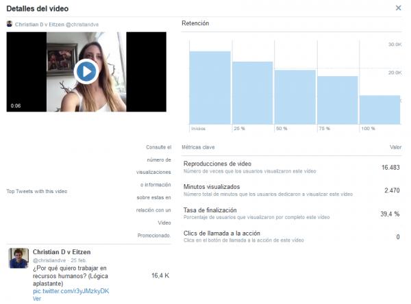 Estadísticas detalladas de un vídeo con Twitter Media Studio