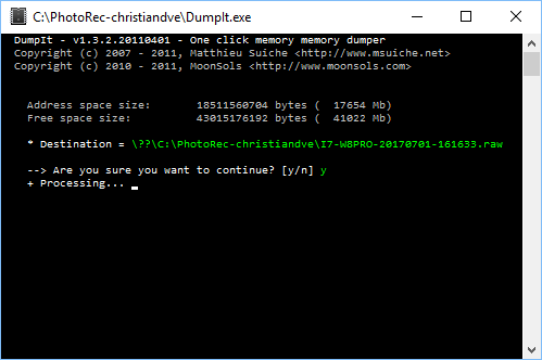 DumpIT vuelca el contenido de la RAM a un fichero