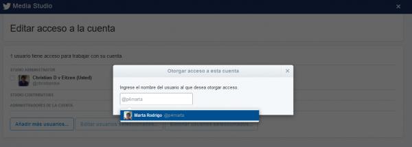 Añadir permisos de acceso a la cuenta
