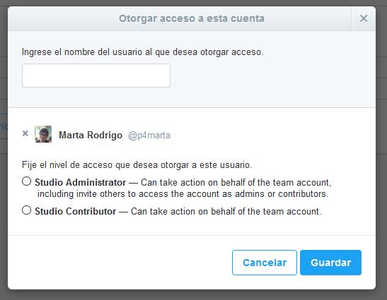 Permisos de acceso a la cuenta con Twitter Media Studio