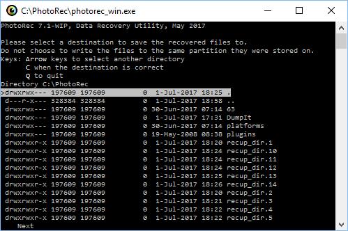 Indicar la carpeta en la que guardar los ficheros recuperados