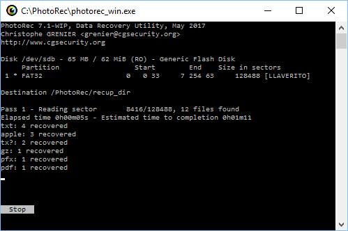 PhotoRec recuperando ficheros borrados