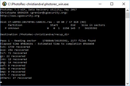 PhotoRec recuperando ficheros de la memoria