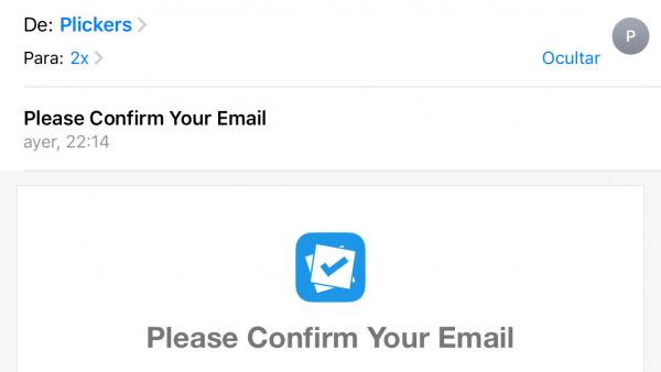 Confirmación del correo electrónico de alta en Plickers