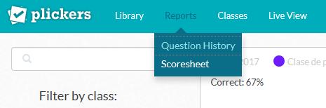 Varias opciones de informes en Plickers