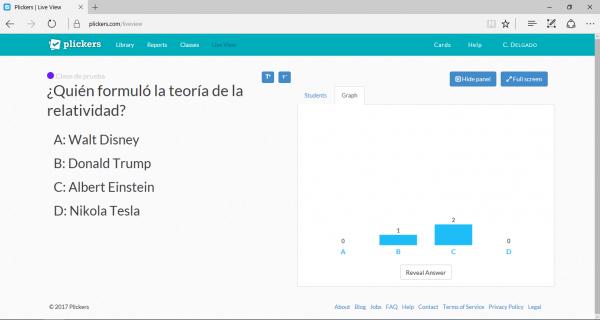 Resultados en tiempo real en Plickers - Mostrar gráficos