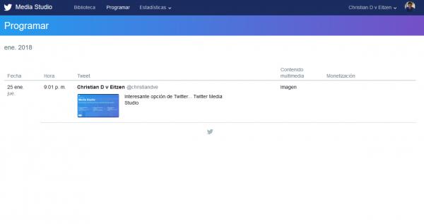 Contenidos programados en Twitter Media Studio