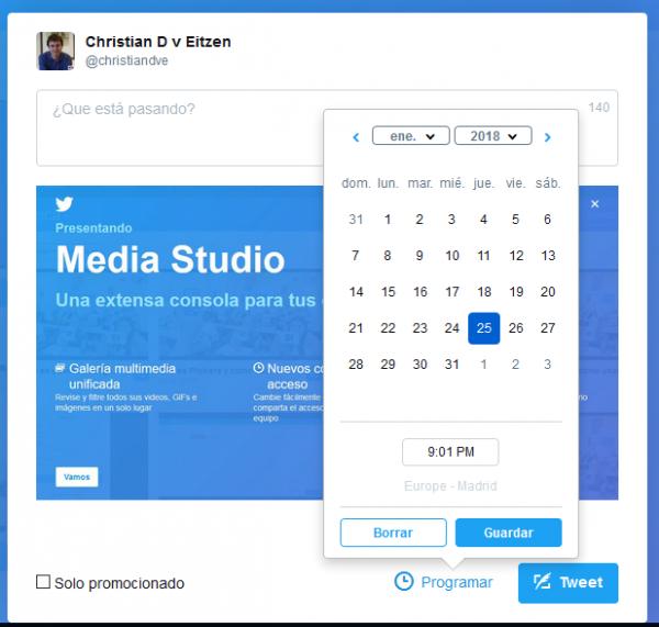 Programar tuits con Twitter Media Studio