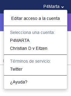 Selector de cuentas de Twitter para Media Studio