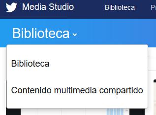 Selector de biblioteca de contenido multimedia de Twitter