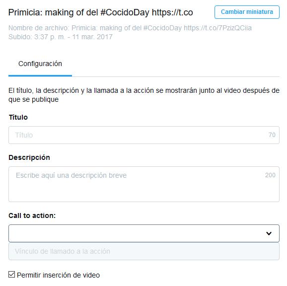 Configuración del vídeo en Twitter Media Studio