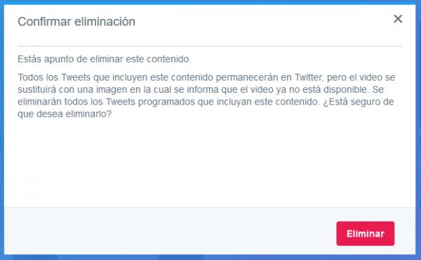 Confirmar eliminación del contenido multimedia de Twitter Media Studio
