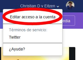 Editar acceso a la cuenta con Twitter Media Studio