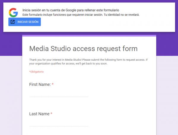 Solicitud de acceso a Twitter Media Studio