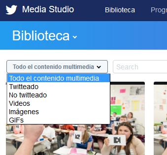 Filtro por tipos de contenido en Twitter Mediia Studio