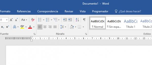 Cinta (Ribbon) de Microsoft Word sin la opción de dictar