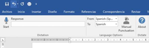 Cinta (Ribbon) de Microsoft Word con la opción de dictar