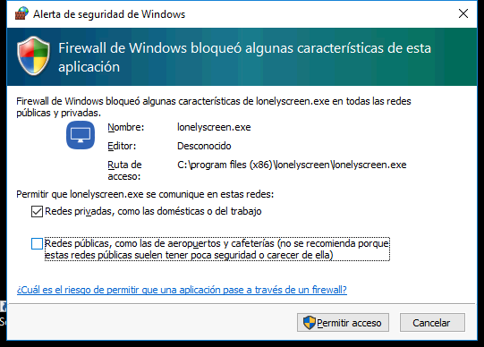 Permitir en el firewall de Windows LonelyScreen