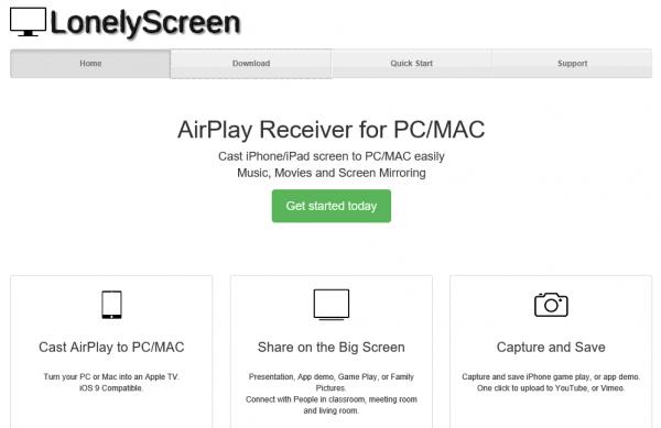 Web de LonelyScreen