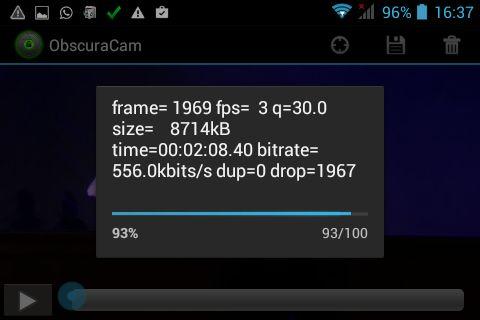 ObscuraCam procesando el vídeo