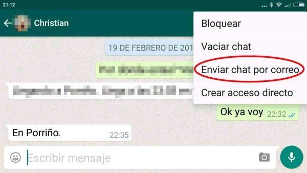 Cómo enviar por correo electrónico una conversación de WhatsApp en Android