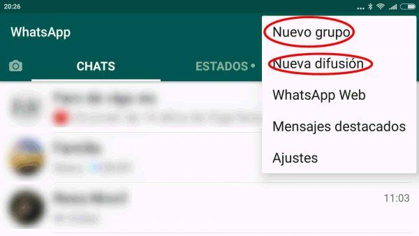 Lista de difusión y grupo de WhatsApp en Android