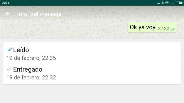 Información de si y cuándo ha sido recibido y leído el mensaje de WhatsApp