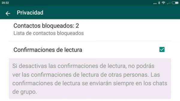 Cómo se desactiva el doble check azul (confirmación de lectura) en Android