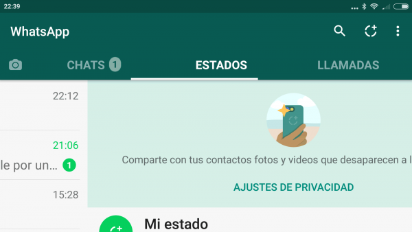 Estados de WhatsApp en Android