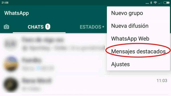 Lista de mensajes destacados en WhatsApp para Android