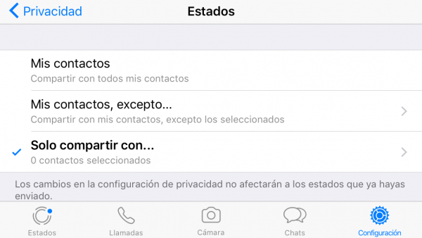 Cómo no compartir el estado de WhatsApp con nadie