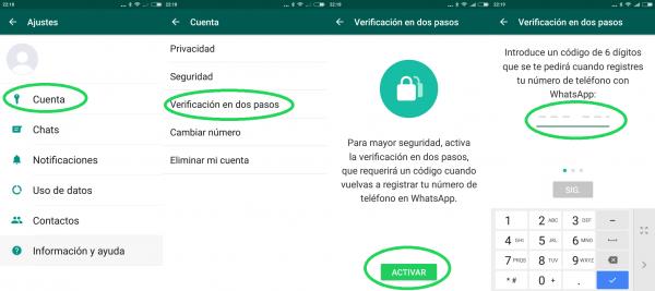 Cómo activar la verificación en dos pasos de WhatsApp en Android