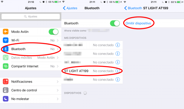 Ajustes de Bluetooth del iPhone