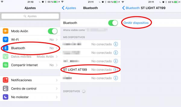 Ajustes de Bluetooth del iPhone