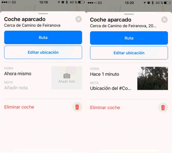 Editar la ubicación e información de la ubicación del coche aparcado en Apple Maps