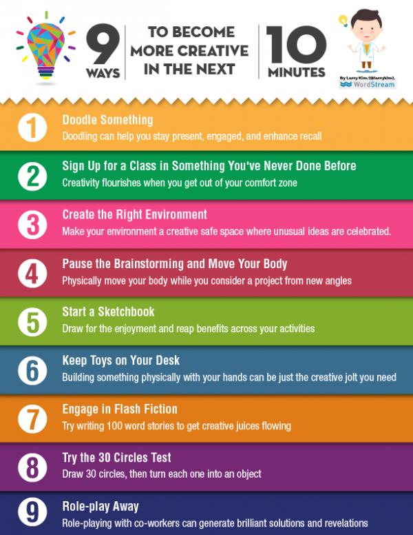 9 maneras de potenciar y desarrollar la creatividad